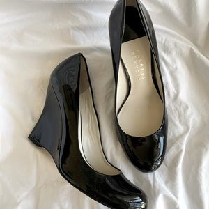 Barney's New York Black Patent Leather Wedge